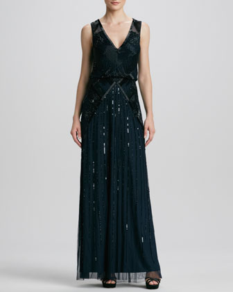 V-Neck Sequined/Beaded Gown