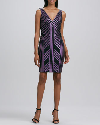 Striped Faux-Leather Cocktail Dress