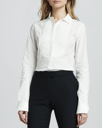 Emmanuel Bishop-Sleeve Blouse, Winter White