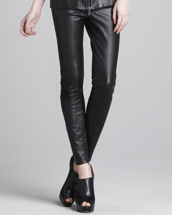 Crocodile-Print Leather Leggings