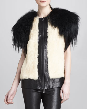 Mixed-Fur/Leather Jacket
