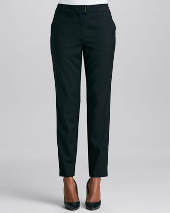 Textured Jacquard Leather-Trim Jacket & Wool Straight-Leg Pants