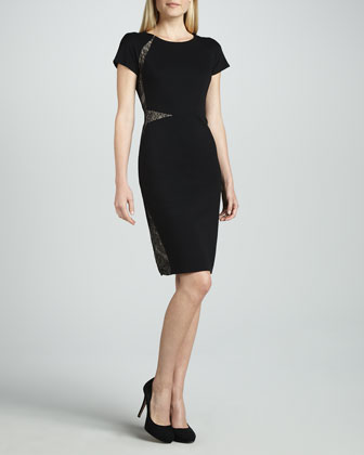 Ponte Dress with Lace Insets