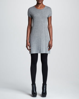 Short-Sleeve Cashmere Dress