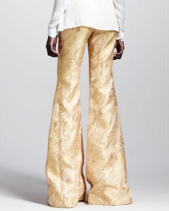 Filigree-Brocade Bellbottom Pants