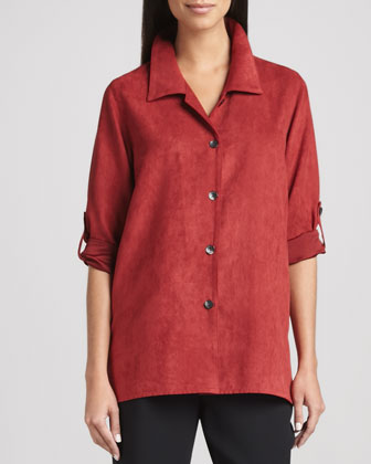 Modern Faux-Suede Big Shirt & Microfiber Straight-Leg Pants, Women's