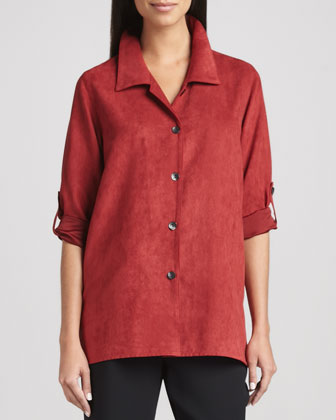 Modern Faux-Suede Big Shirt & Microfiber Straight-Leg Pants