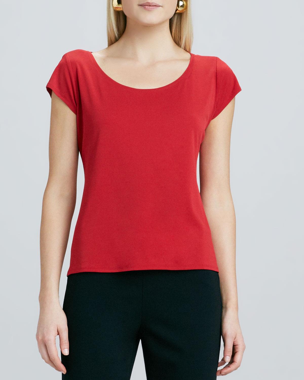 Silk Jersey Cap Sleeve Tee   Eileen Fisher