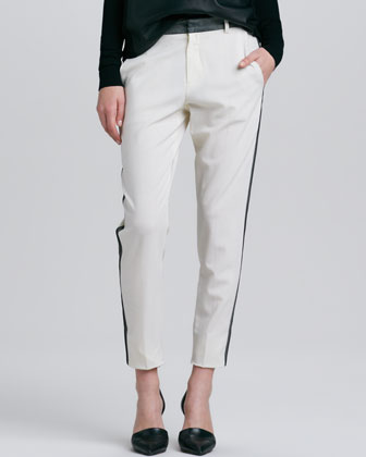Contrast-Stripe Cropped Trousers