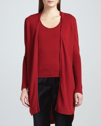 Long Cashmere High-Low Cardigan