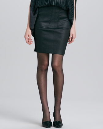 Leather-Front Pencil Skirt