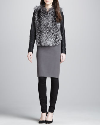Ribbed Knit Pencil Skirt, Charcoal