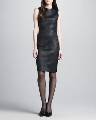 Ponte-Side Leather Dress