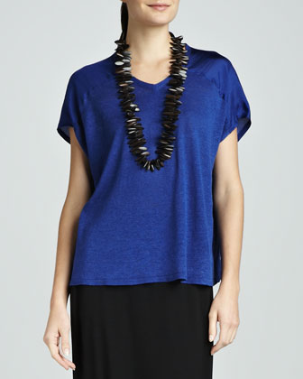V-Neck Linen-Silk Jersey Boxy Top