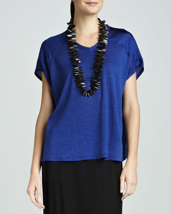 V-Neck Linen/Silk Jersey Boxy Top