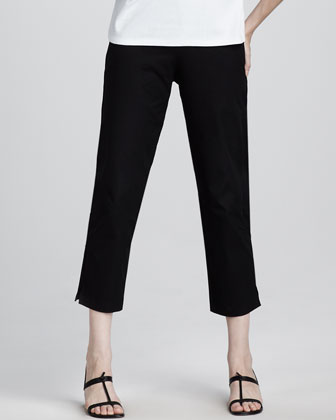 Slim Twill Ankle Pants, Petite