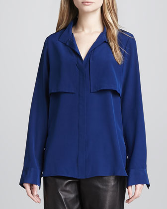 Military-Style Silk Blouse, Bluebird