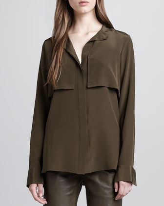 Military-Style Silk Blouse, Oak