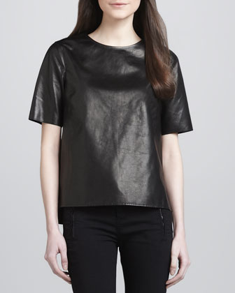 Side-Slit Leather Tee, Black