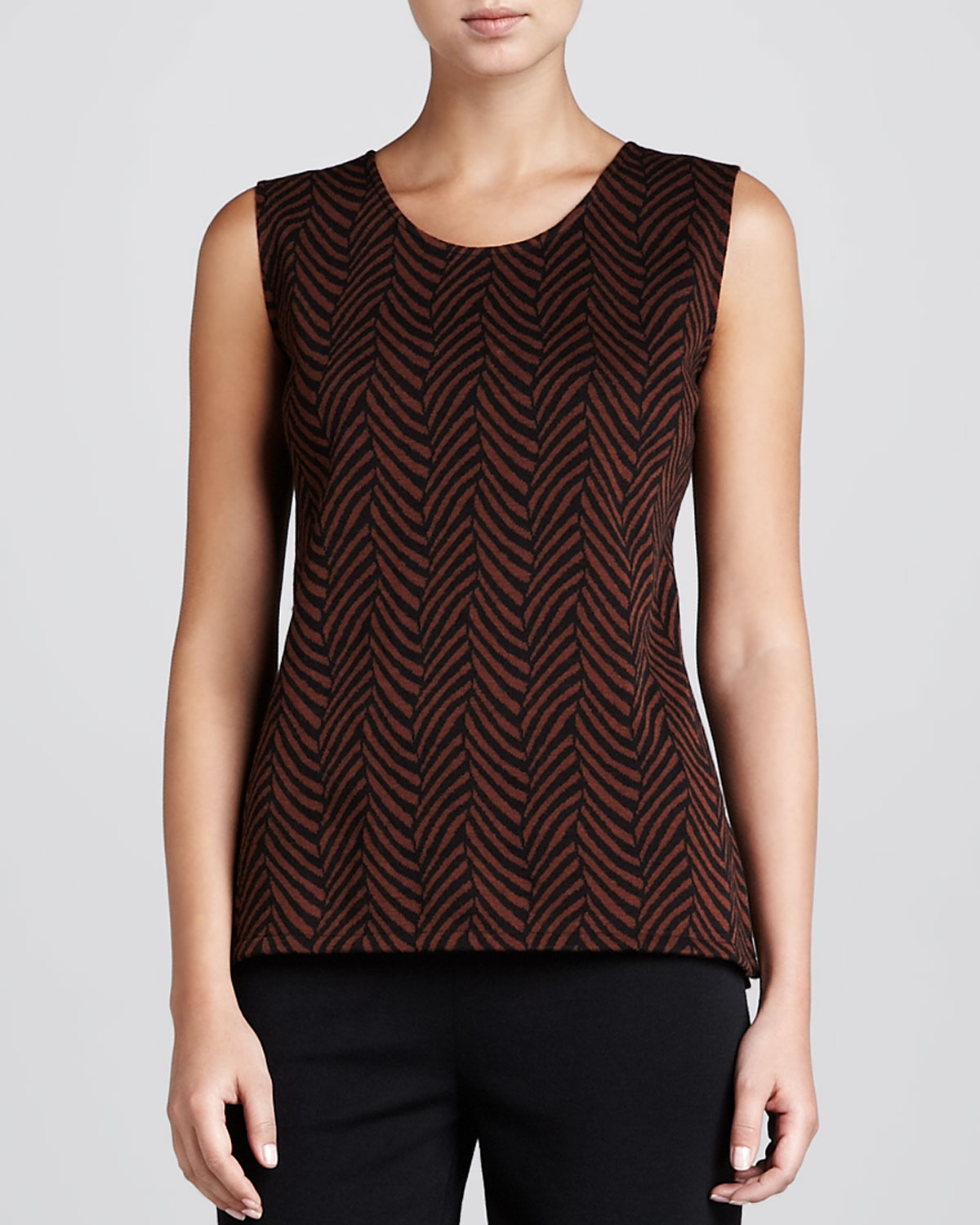 Jungle Jacquard Long Tank, Womens   Caroline Rose   Brown/Black (2X (20/22))