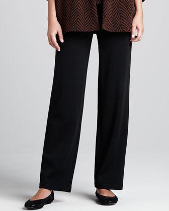 Wool Flat-Knit Pants