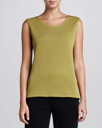 Wool Flat-Knit Long Tank, Women's