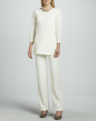 Ottoman Knit Tunic & Flat Wool-Knit Pants, Women's