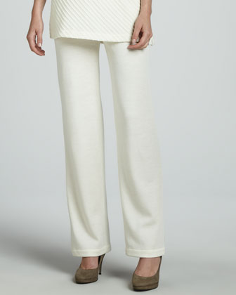 Flat Wool-Knit Pants