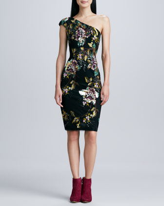 One-Shoulder Floral Cocktail Dress