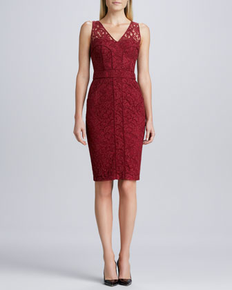 Sleeveless Lace Cocktail Dress, Red