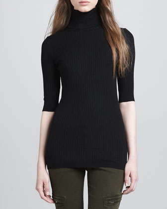 Slim Ribbed Turtleneck Sweater