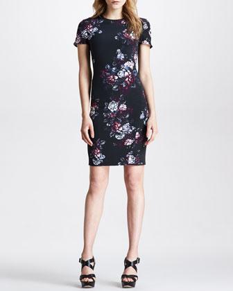 Sliding Seam Floral-Print Dress