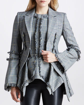 Fringed Plaid Blazer