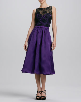 Beaded Belted Lace Cocktail Dress