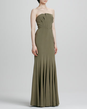 Strapless Seamed Gown