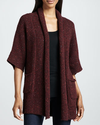 Long Cashmere Half-Sleeve Cardigan
