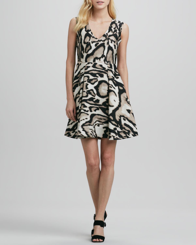 Womens Renna Leopard Print Flared Dress   Diane von Furstenberg   Leopard bark