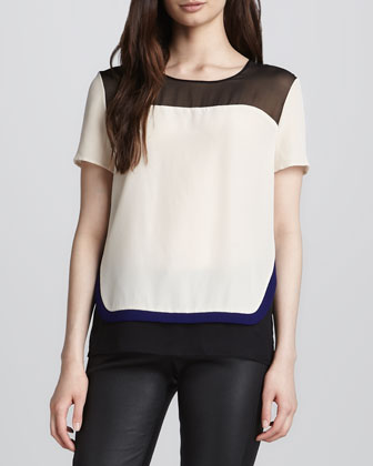 Becky Layered Short-Sleeve Blouse