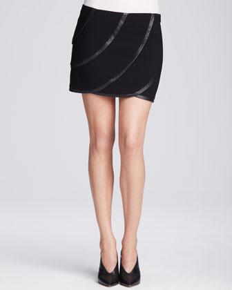 Karina Leather Panel Skirt