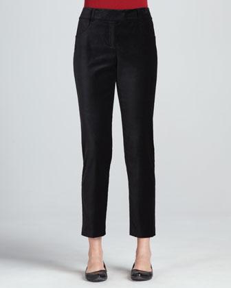 Velveteen Tuxedo Ankle Pants