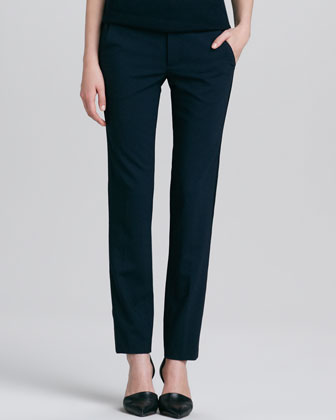 Leather-Sleeve Wool Tee & Fitted Stretch-Wool Tuxedo Pants