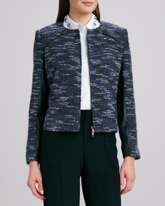 Leather-Trim Boucle Jacket