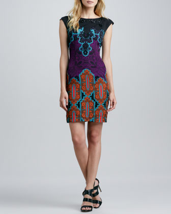 Beaded-Neck V-Back Printed Dress