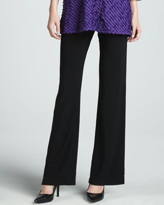 Bias-Ruffled Knit Tunic & Knit Straight-Leg Pants