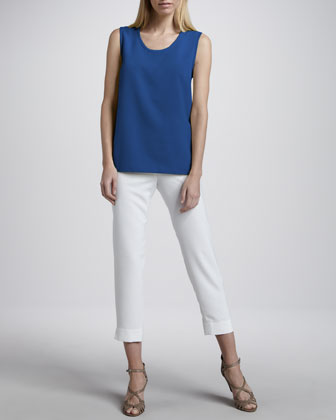 Shantung Big-Button Shirt, Tank & Slim Capri Pants, Petite