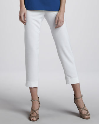 Shantung Big-Button Shirt, Tank & Slim Capri Pants