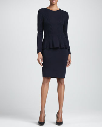 Wool Peplum Two-Piece Sweater and Dress