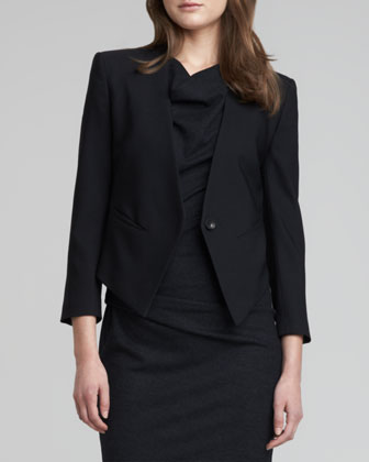 Cropped Tuxedo Blazer & Ruched-Side Crepe Dress