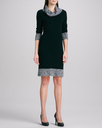 Cashmere Sweater Dress with Marled Trim