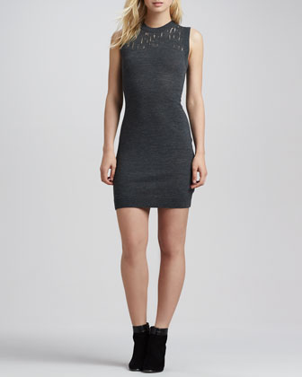 Lena Sleeveless Burnout-Neck Dress